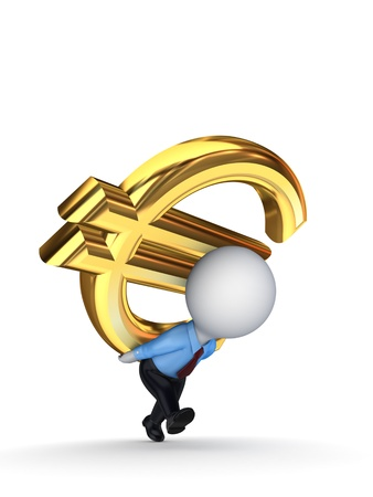 diversified: 3d small person with a sign of dollar on the back