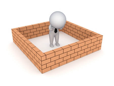 3d small person behind brick wall Stock Photo - 18075232