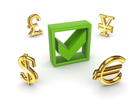 Currencies around green tick mark  Stock Photo - 18196898
