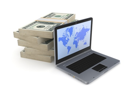 Modern notebook and dollar packs Stock Photo - 18196901