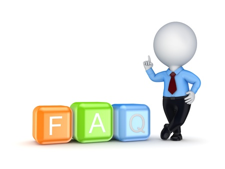 3d small person and word FAQ  Stock Photo - 18196751