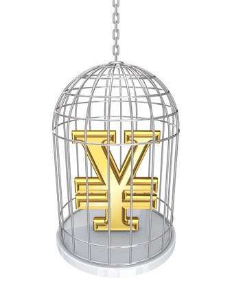 Yen symbol in a birdcage  photo