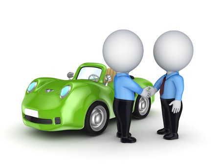 sell car: 3d small people and green car