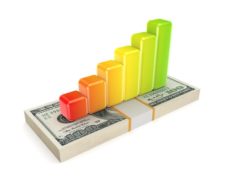 Colorful graph on dollar pack  Stock Photo - 18197263