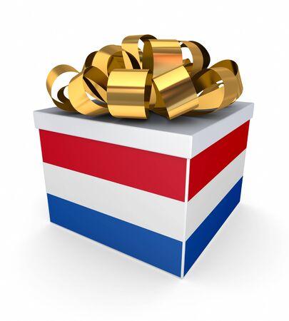 dutch flag: Giftbox with dutch flag  Stock Photo