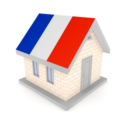 french flag: Small house with french flag of on a roof