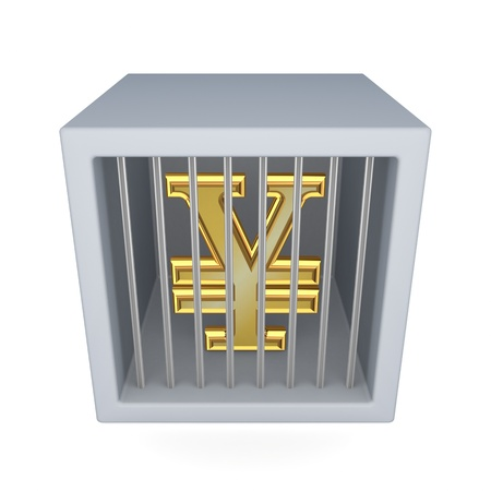 Yen symbol in a cage  photo