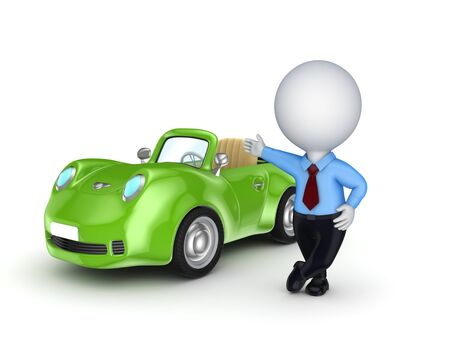 3d small person selling the car  photo