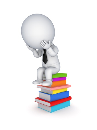 3d person sitting on a stack of colorful books Stock Photo - 18197002