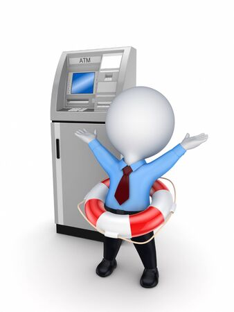 3d small person with a lifebuoy near ATM Stock Photo - 18197204