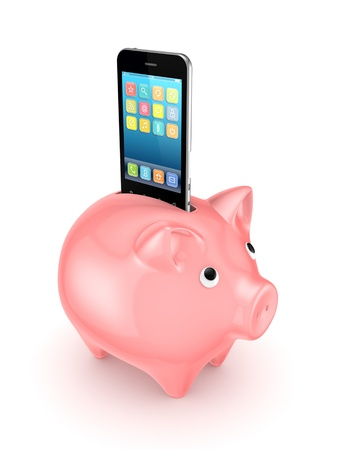 mobile sms: Pink piggy bank and modern mobile phone