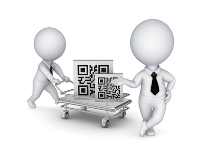 Pushcart with QR code  Stock Photo