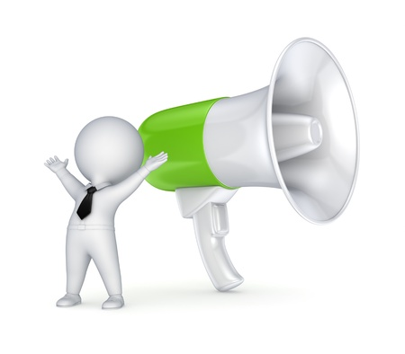 Megaphone and 3d small person  photo