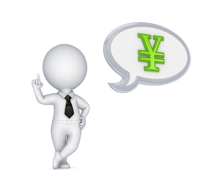 3d small person and yen symbol  photo