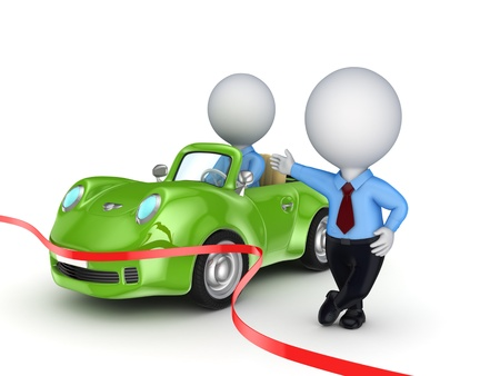 3d small person selling the car Stock Photo - 18314318