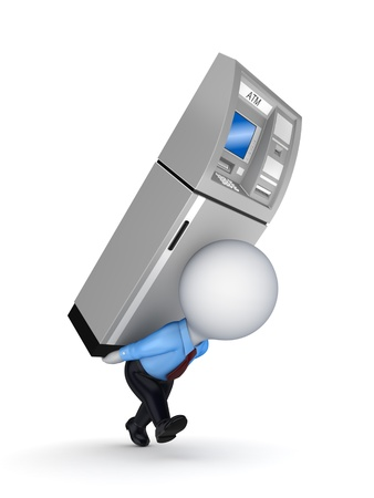 3d small person with ATM on a back  Stock Photo - 18314299