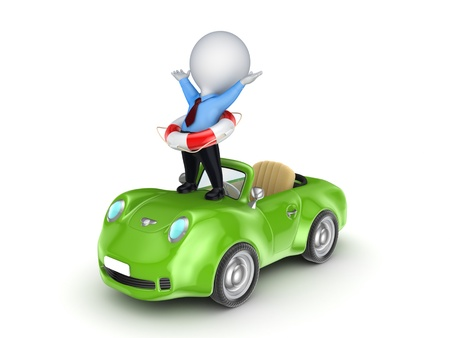 the little man: 3D piccola persona con un salvagente su una macchina
