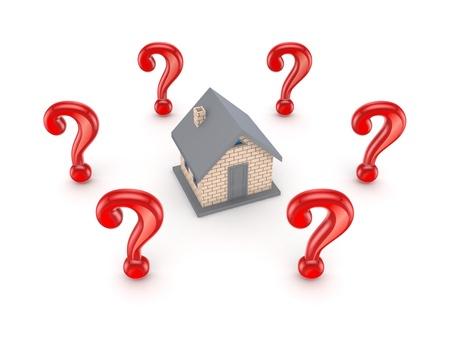 housing search: Segni di query rosso intorno piccola casa