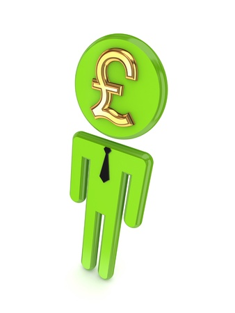 3d person with pound sterling sign on a face  photo