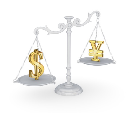 Vintage scales with dollar and yen symbols Stock Photo - 18429173
