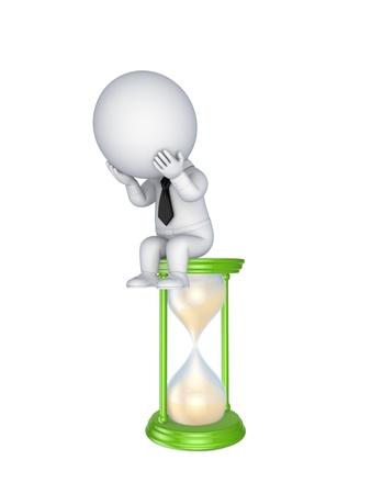 punctual: Sad persona 3d pequeña sentada en un reloj de arena Foto de archivo