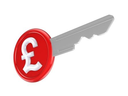 Pound sterling sign on a key  photo
