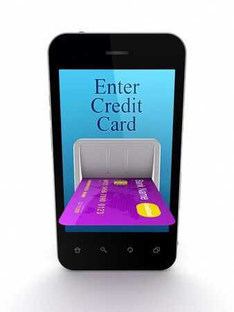 Colorful credit card connected to mobile phone  Stock Photo - 18443685