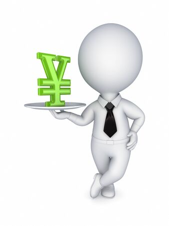 3d small person with yen symbol  Stock Photo