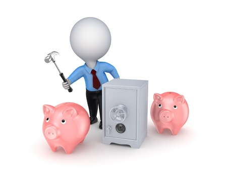3d small person, pink piggy banks and iron safe  photo