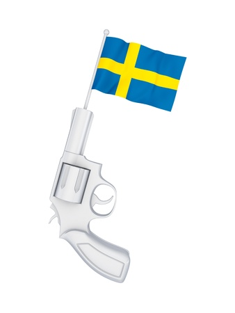 Revolver with a flag of Sweden  Stock Photo - 18564597