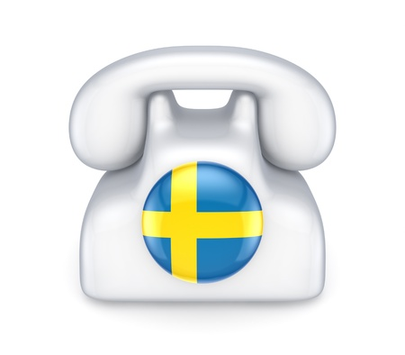 Retro telephone with swedish flag  photo