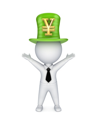 tophat: Green top-hat with symbol of Yen