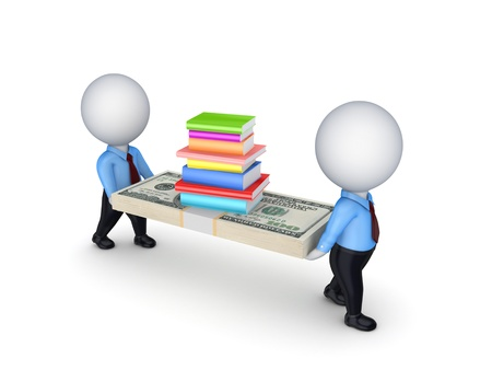 3d small people with dollars and stack pf books  photo