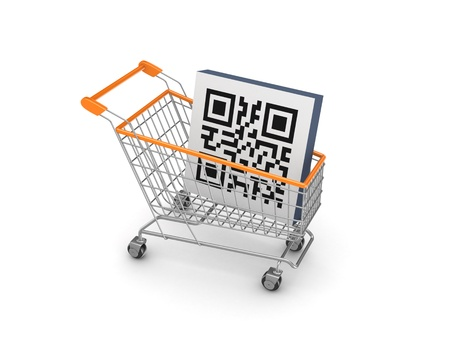 passcode: Symbol of QR code in a shopping trolley  Stock Photo