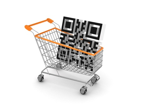 Symbol of QR code in a shopping trolley  Stock Photo - 18615426
