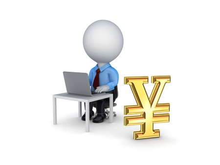3d small person and sign of yen  Stock Photo - 18610993
