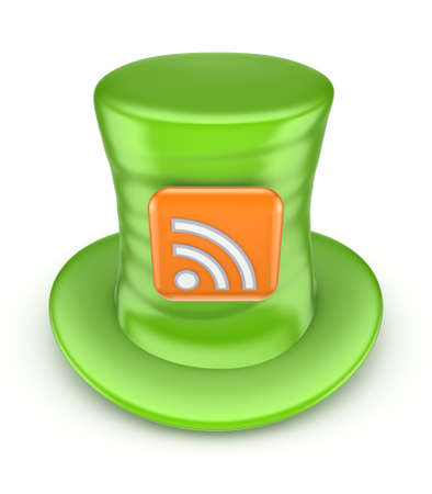 tophat: Green top-hat with symbol of RSS Stock Photo