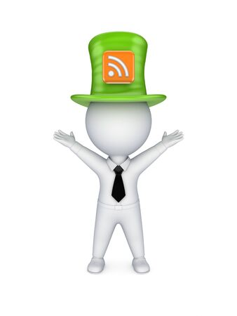 Green top-hat with symbol of RSS Stock Photo - 18610950
