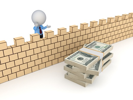 3d person behind the wall and stack of dollars  Stock Photo - 18615214