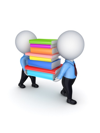 3d small people with colorful books Stock Photo - 18611085