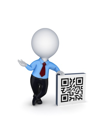 3d small person and symbol of QR code  Stock Photo - 18610989