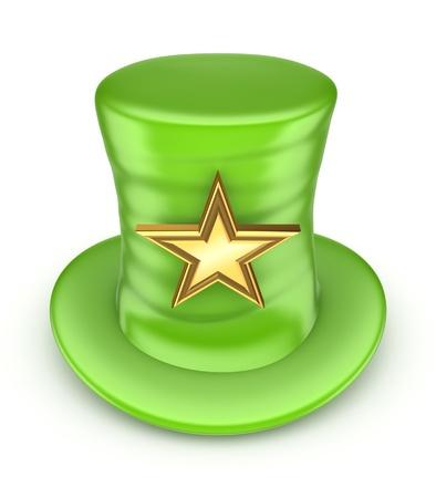 tophat: Verde a cappello con la stella d'oro Archivio Fotografico
