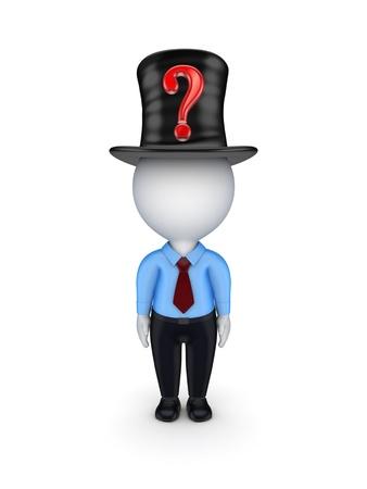 tophat: 3d piccola persona con punto interrogativo rosso sulla top-hat Archivio Fotografico