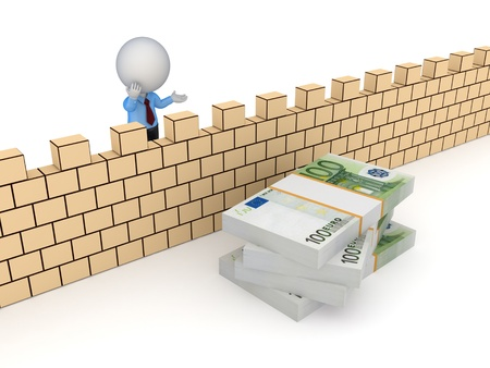 financial obstacle: 3d small person behind the wall and stack of euro