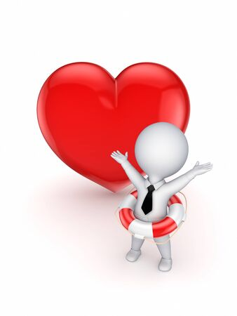 3d smal person with a lifebuoy and red heart  photo
