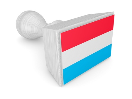 Wooden stamp with luxembourgian flag.Isolated on white background.3d rendered. photo