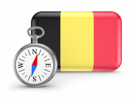 Belgian flag.Isolated on white background.3d rendered illustration. Stock Illustration - 18615398