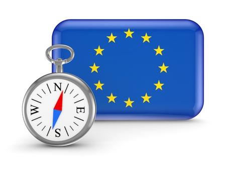 European flag.Isolated on white background.3d rendered illustration. Stock Illustration - 18615266