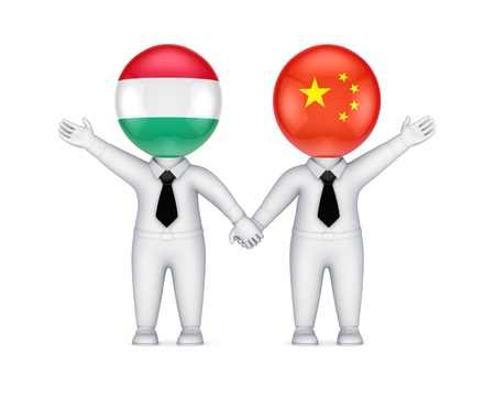 Hungarian-Chinese cooperation concept.Isolated on white background.3d rendered. photo