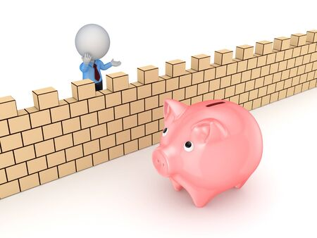 3d small person behind the wall and piggy bank. Stock Photo - 18615147